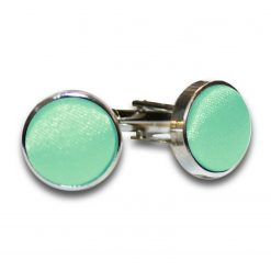 Mint Green Plain Satin Cufflinks