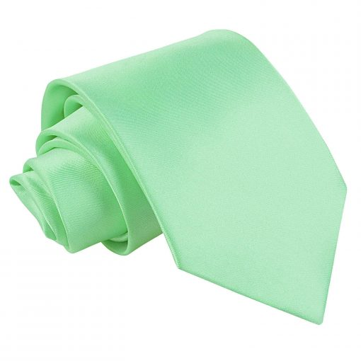 Mint Green Plain Satin Extra Long Tie