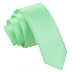 Mint Green Plain Satin Skinny Tie