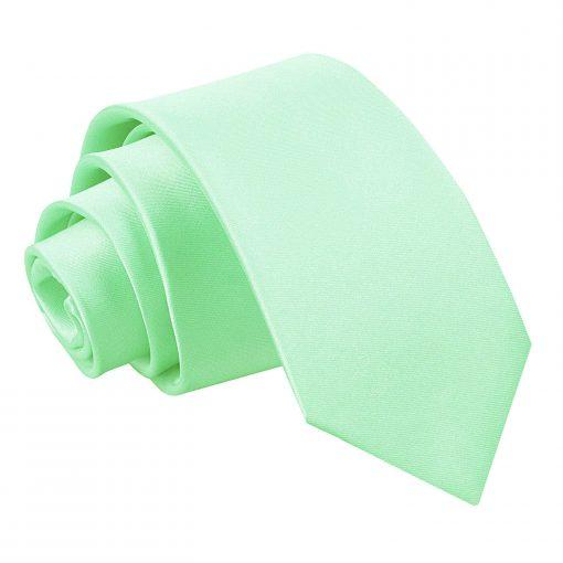 Mint Green Plain Satin Slim Tie