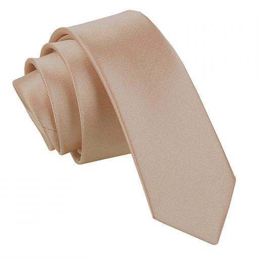 Mocha Brown Plain Satin Skinny Tie