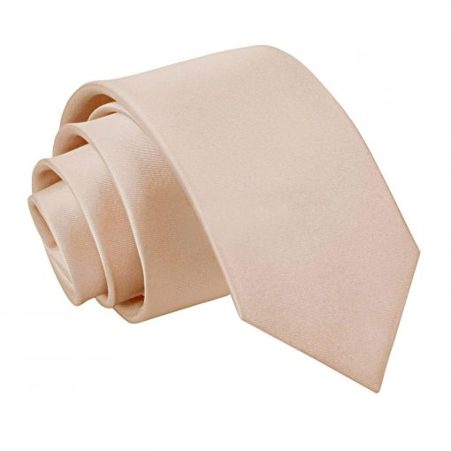 Mocha Brown Plain Satin Slim Tie