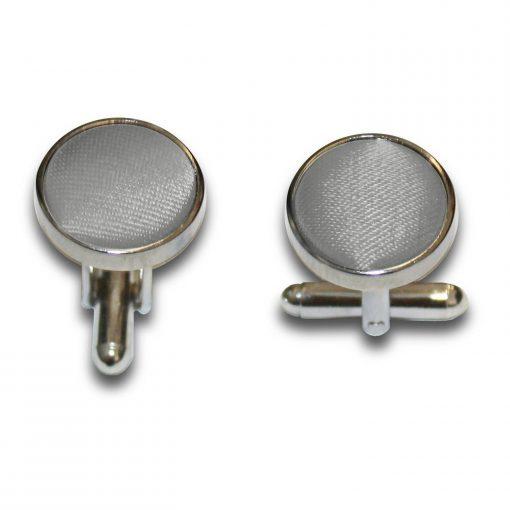 Platinum Plain Satin Cufflinks