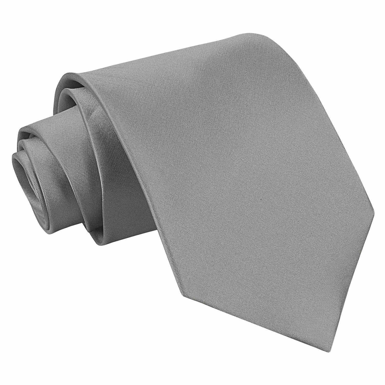 Men's Plain Platinum Satin Tie