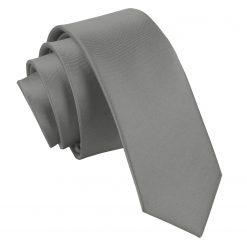 Platinum Plain Satin Skinny Tie