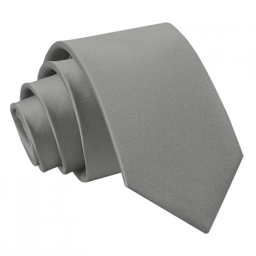 Platinum Plain Satin Slim Tie