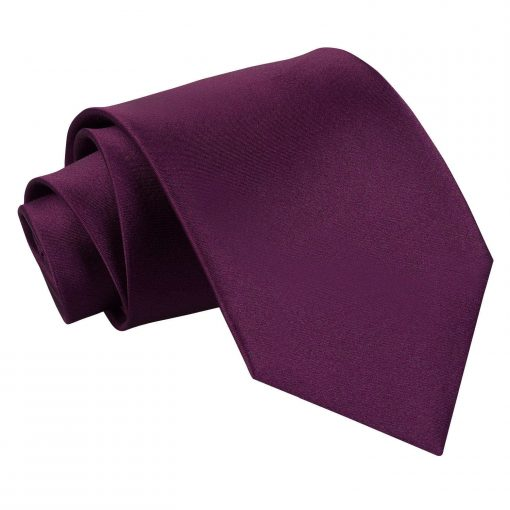 Plum Plain Satin Extra Long Tie