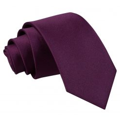 Plum Plain Satin Slim Tie