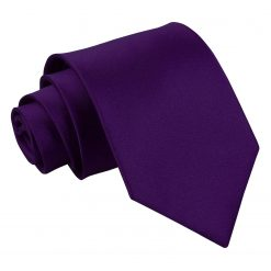 Purple Plain Satin Extra Long Tie