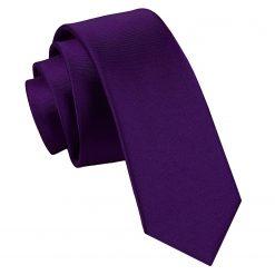 Purple Plain Satin Skinny Tie