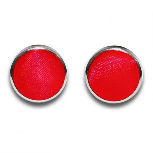 Red Plain Satin Cufflinks