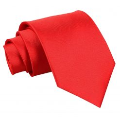 Red Plain Satin Classic Tie