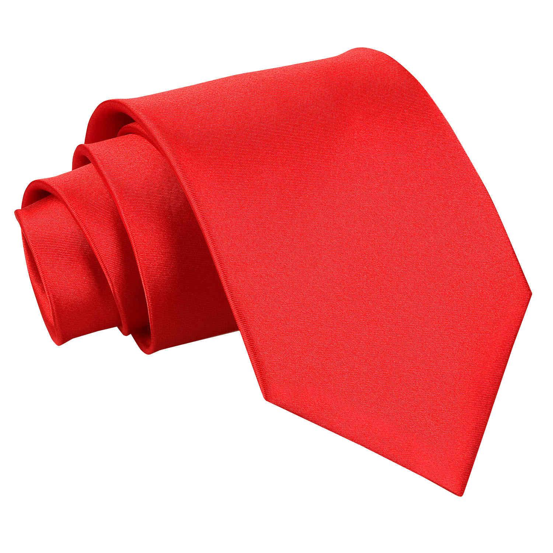 Men's Plain Red Satin Tie