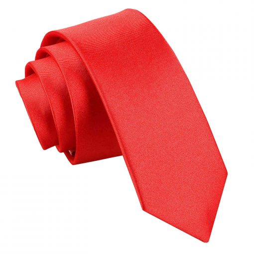 Red Plain Satin Skinny Tie
