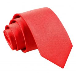 Red Plain Satin Slim Tie