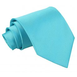 Robin's Egg Blue Plain Satin Extra Long Tie