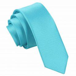 Robin's Egg Blue Plain Satin Skinny Tie