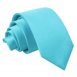 Robin's Egg Blue Plain Satin Slim Tie