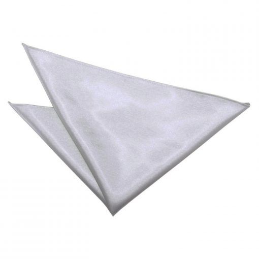 Silver Plain Satin Handkerchief / Pocket Square