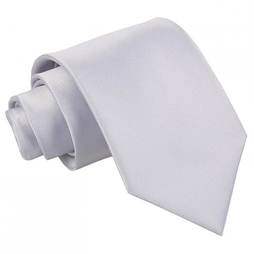 Silver Plain Satin Extra Long Tie