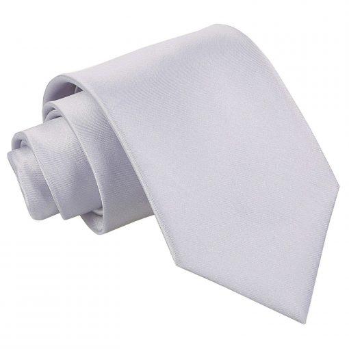 Silver Plain Satin Classic Tie