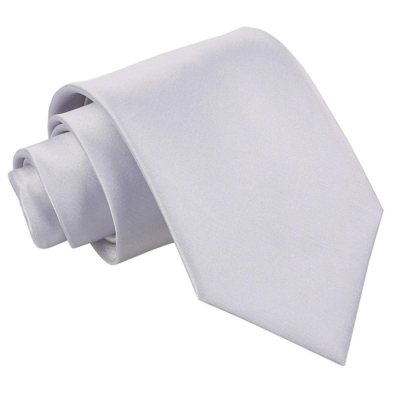 Men's Plain Silver Satin Tie