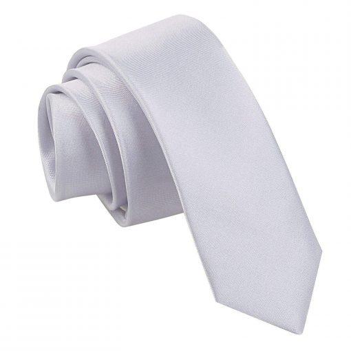 Silver Plain Satin Skinny Tie