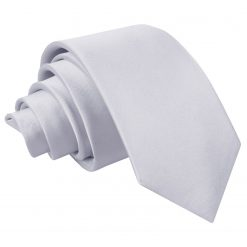 Silver Plain Satin Slim Tie