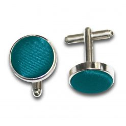 Teal Plain Satin Cufflinks