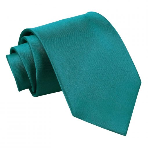 Teal Plain Satin Extra Long Tie