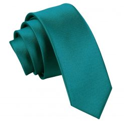 Teal Plain Satin Skinny Tie