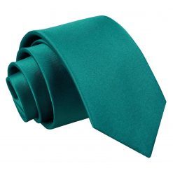 Teal Plain Satin Slim Tie