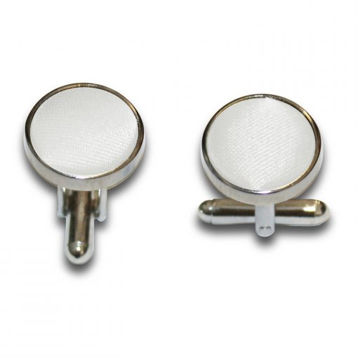 White Plain Satin Cufflinks