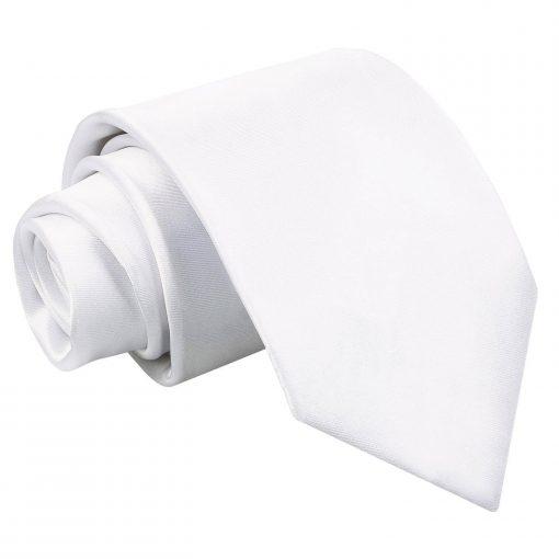 White Plain Satin Classic Tie