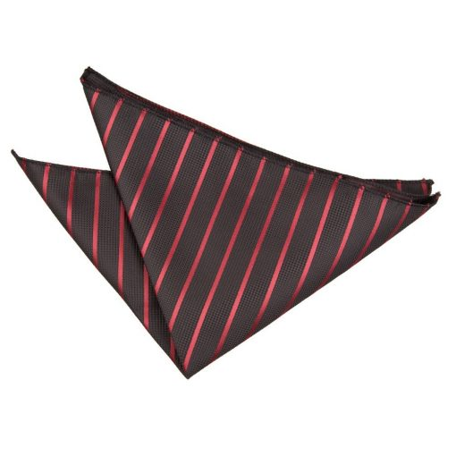 Black & Burgundy Single Stripe Handkerchief / Pocket Square