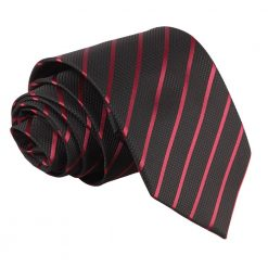Black & Burgundy Single Stripe Classic Tie
