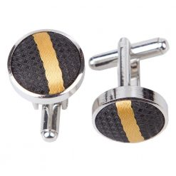 Black & Gold Single Stripe Cufflinks