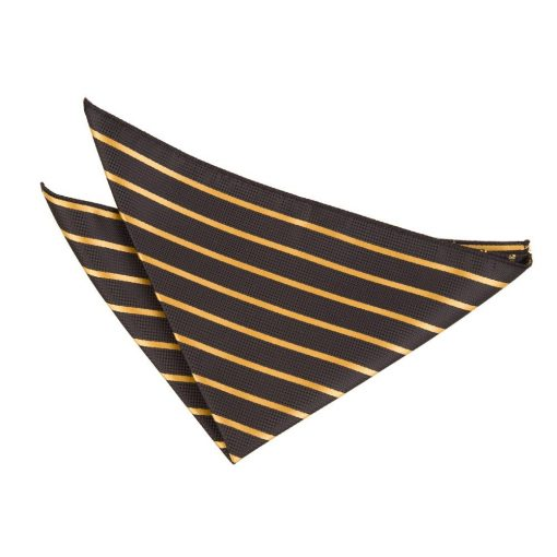 Black & Gold Single Stripe Handkerchief / Pocket Square