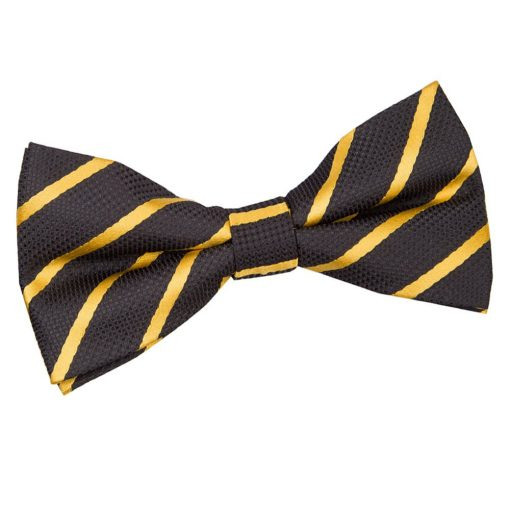 Black & Gold Single Stripe Pre-Tied Bow Tie