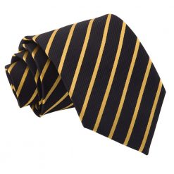 Black & Gold Single Stripe Classic Tie