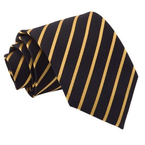 Black & Gold Single Stripe Classic Tie