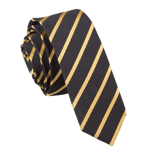 Black & Gold Single Stripe Skinny Tie