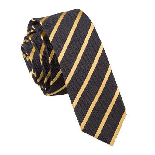 Black & Gold Single Stripe Skinny Tie