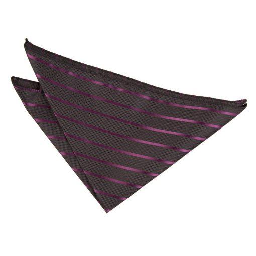 Black & Purple Single Stripe Handkerchief / Pocket Square