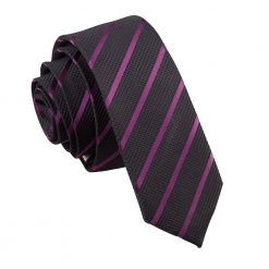 Black & Purple Single Stripe Skinny Tie