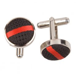 Black & Red Single Stripe Cufflinks