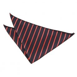 Black & Red Single Stripe Pocket Square