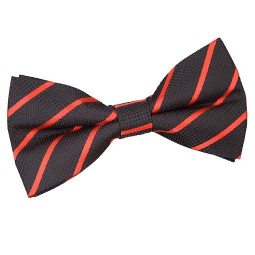 Black & Red Single Stripe Pre-Tied Bow Tie