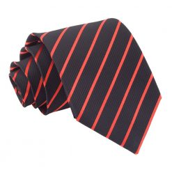 Black & Red Single Stripe Classic Tie