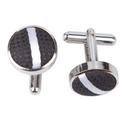 Black & White Single Stripe Cufflinks